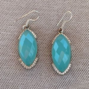 Sterling blue chalcedony earrings